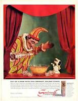 1960 Smirnoff PRINT AD Vodka Vintage Bottle Puppet Clown & dog mixing punch