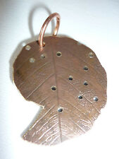 Leaf Pressed Shell Shape Copper Pendant or Accessory for Steampunk.