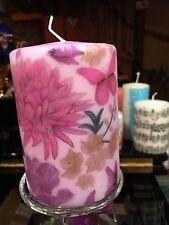 Autunno Fiori Farfalle (viola) Viola decorati a mano su rivestito pilastro candela