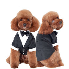 Dog Shirt Pet Clothes Suits Gentlemen Wedding Autumn & Winter Vest with Bow-knot