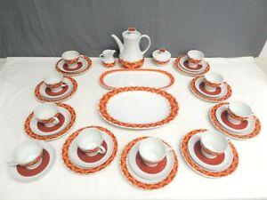 Thomas 34 tlg. Kaffeeservice Design Orange Ocker Kaminrote Borte 70er Jahre