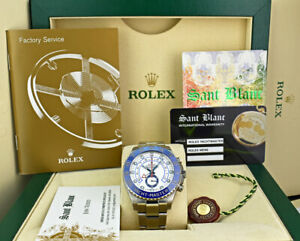ROLEX - Mens 44mm Stainless Steel YachtMaster II Blue Hands 116680 - SANT BLANC