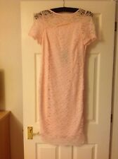 RRP £49.50 M&S Size 8 Pink Blush Lace Fitted Dress Regular Wedding Mother Races