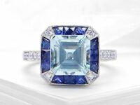 2ct Asscher Cut Blue Aquamarine Art Deco Engagement Ring 14k White Gold Finish