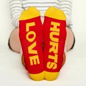 One Pair of Arthur George Love Hurts Half Crew Socks Size 7-12 Red/Yellow