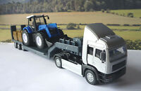 Boys Toy Teamsters SILVER TRANSPORTER LORRY Blue TRACTOR Birthday Present Boxed