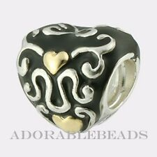 Authentic Chamilia Sterling Silver & 14kt Gold Heart & Soul Bead KA-77 *RETIRED*