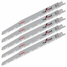 "5 X BOSCH S1531L 240MM 10"" HCS RECIPROCATING SABRE SAW BLADES. FAST CUT FOR WOOD"