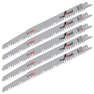 "5 X BOSCH S1531L 240MM 10"" HCS RECIPROCATING SABRE SAW BLADES. PRUNING FOR WOOD"