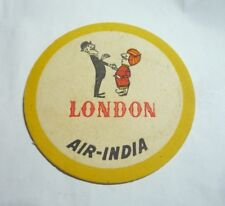 AIR INDIA Airlines Drink Coaster Mat Paper VINTAGE 1960's LONDON Yellow White