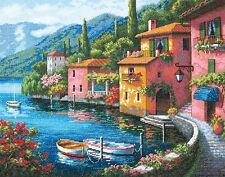 Cross Stitch Kit ~ Gold Collection Lakeside Village Coastal Town #70-35285