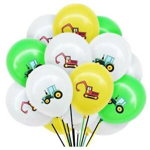 """12pcs 12"""" Farm Tractor Excavator Digger Latex Construction Party Balloon Pack"""