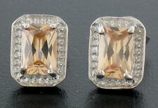 Sterling Silver Citrine Rectangle Cut Studs Earrings w/ Beaded Border CLASSIC