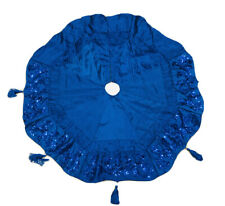 40 In Octagon Blue Swirl Sequins Christmas Tree Skirt Wz 5 Tassels
