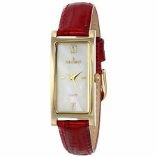 Peugeot Women's 3017br Gold-tone Brown Leather Strap Watch Red 3017RD