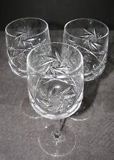 "Pinwheel Crystal Stemware Wine Glass Goblet 7"" Tall 3 Lot EUC"