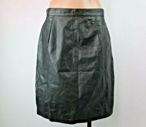 VTG 80s La Redoute Collection real leather black pencil skirt soft sz 14 biker