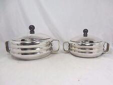 Set of 2  Art Déco Design Schalen mit Deckeln / bowls with lid VDNS Schwerte