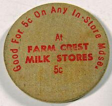 Vintage - 5c Off at Farm crest MIlk Stores / USA Buffalo Nickel - WOODEN NICKEL