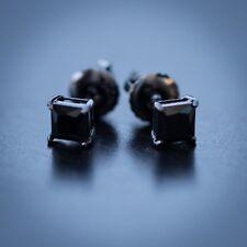 Small Black Onyx Diamond Stud Screw On Post Earrings