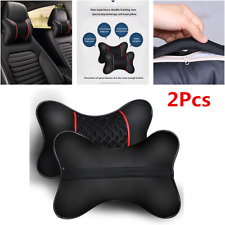 2Pcs Leather Ice Silk Car Seat Headrest Neck Cushion Support Pillows Accessories