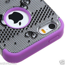 iPhone 5 5S T Armor Hybrid Case Skin Cover Black Lace Flower 2D Purple