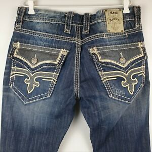 ROCK REVIVAL Mens Jeans Size 36 Blue Distressed Embriodered Dino Slim Straight