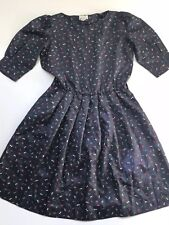 Vintage Rare 1950s ModCloth Ribbon Print Dress Fit Flare 12 Puffed Sleeves Full