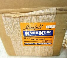 Vintage Box of 75 glass slide mounts 35mm Kwik Klik by Mansfield Original Box