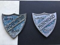 Vintage classic car badge. Norwood Motor Club UK Mini Bmc Triumph Mg Austin