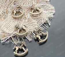 15pc Retro Bronze Rocking horse Bead Charms Accessories wholesale P1734