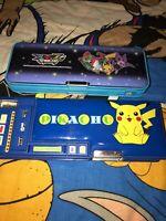 Vintage 90s Padded Pencil Japanese Style Case Pokemon Nintendo XYZ Lot Pikachu