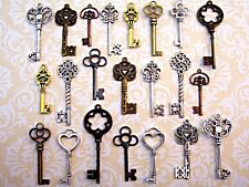 22 New Big Antique Vtg Old Faux Large Skeleton Keys Lot Pendant Heart Jewelry L8