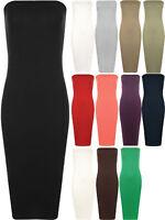 New Plus Womens Boob Tube Strapless Stretch Bodycon Long Ladies Midi Dress 16-22