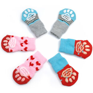 Cute Pet Dog Socks Comfortable Puppy Anti-Slip Boots for Puppy Cats 4pcs S M L