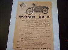 DEPLIANT PUBBLICITARIO CON CARATTERISTICHE MOTOM  98 T ANNO 1959