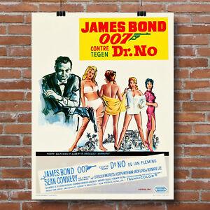 Dr. No James Bond 007 Sean Connery Belgian Movie Poster Canvas Giclee' Art Print