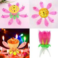 1pc Magic Cake Birthday Lotus Flower Candle Blossom Musical Decoration D6L7