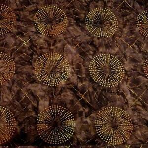 A Striking Robert Kaufman Batik, Lg Gold Radiating Circles on Brown, BTHY or BTY