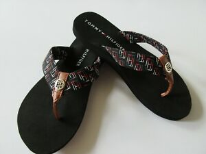 Tommy Hilfiger TWCAIA-C Black With Multi Color Fabric Strap Flip Flop New