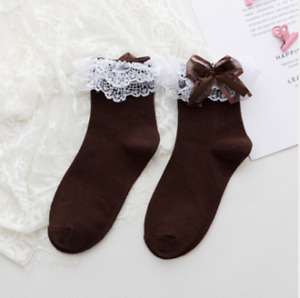 Lolita Girls Lace Socks Cute Bow-knot Socks for Students 4 Colors