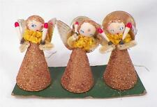 Vintage Christmas Angels Decoration Gold Glitter Pipe Cleaner Arms Retro 1950s