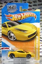 Hot Wheels 2010 #35 Ferrari 458 Italia YELLOW,2ndCOLOR,NewCASTING,RACE ONLINE,US