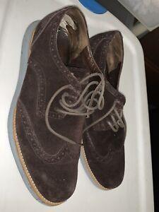 Men's Cole Haan Lunargrand Wingtips Shoes 10 brown suede