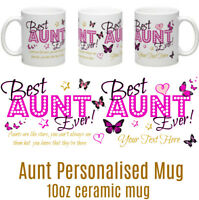 Best Aunt Ever! personalised ceramic mug gift 8 choices Mum Friend Sister Nan..