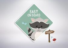 Baby on board -Racoon Car Safety Sticker/Kids, Twins, Misters, Little Miss