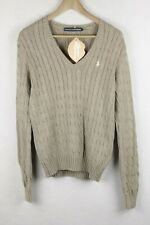 RALPH LAUREN Womens Jumper ATHLETIC CABLE KNIT Sweater SLIM V NECK Large P99
