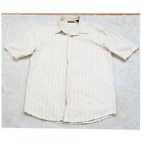 Large Great Northwest White & Tan Mans Striped Dress Shirt Short Sleeve Cotton