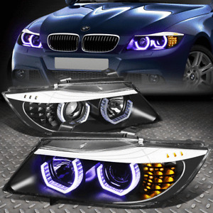 [BLUE LED 3D CRYSTAL U-HALO]FOR 2009-2012 BMW 3-SERIES E90 BLACK HEADLIGHT/LAMPS
