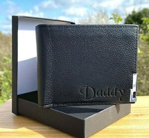 Personalised Customised wallet engraved  black leather Father's Day Birthday